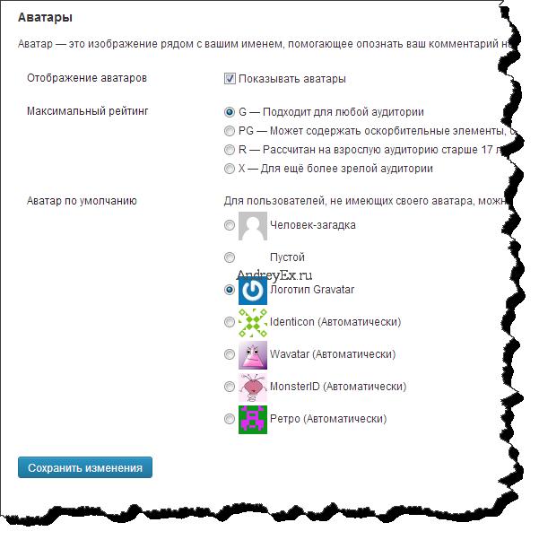 Как изменить стандартный граватар на WordPress