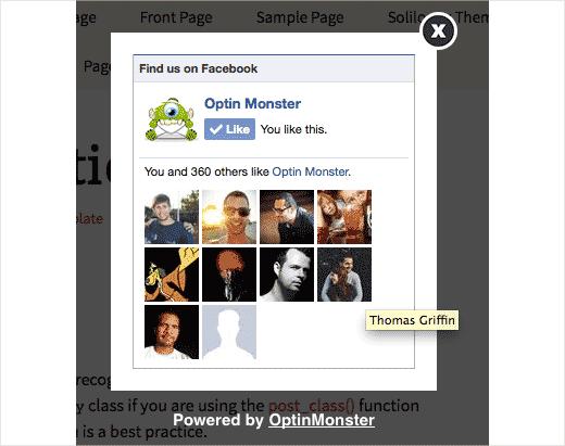 Всплывающее окно OptinMonster Facebook