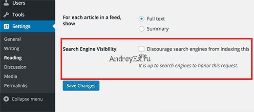 Опция видимость поиска в настройках WordPress