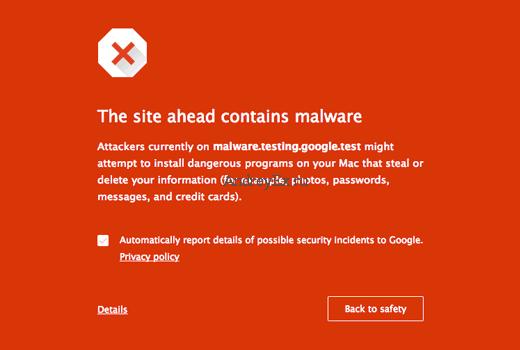 Предупреждение о вредоносном ПО в Google Chrome