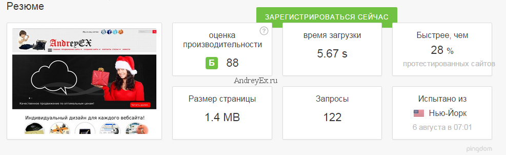 AndreyEx.ru на Pingdom Скриншот 2016.08.06