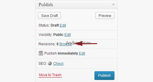 Изменения отображаются в поле мета опубликовать в WordPress на экране редактирования поста
