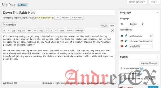 Многоязычный пост в блоге в WordPress создан с помощью Polylang