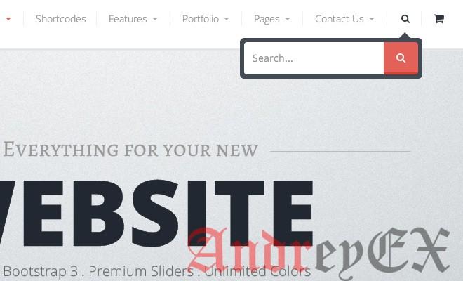 Пример переключателя поиска на сайте в дейтсвии
