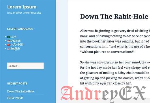 Язык на виджетах на живом сайте WordPress