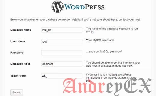 Предоставление информации о базе данных, чтобы установить WordPress на локальном хосте с WAMP