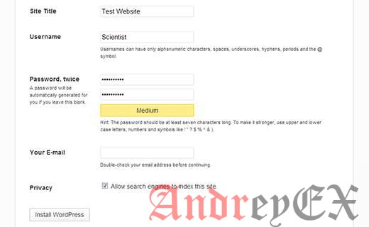 Страница установки WordPress
