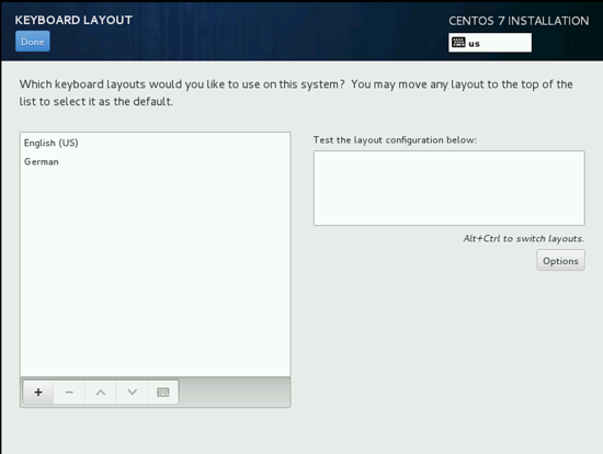 Изменение комбинации клавиш при смене языка в установке CentOS 7