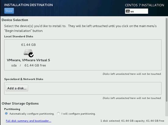 Разбивка диска Пункт SYSTEM при установки CentOS 7