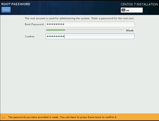 Создание пароля при установки CentOS 7