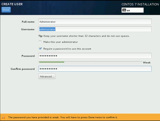 Создание пользователя и его пароля при установки CentOS 7