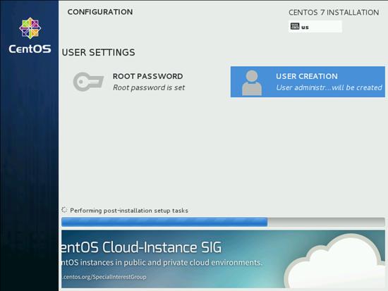 Завершение установки CentOS 7