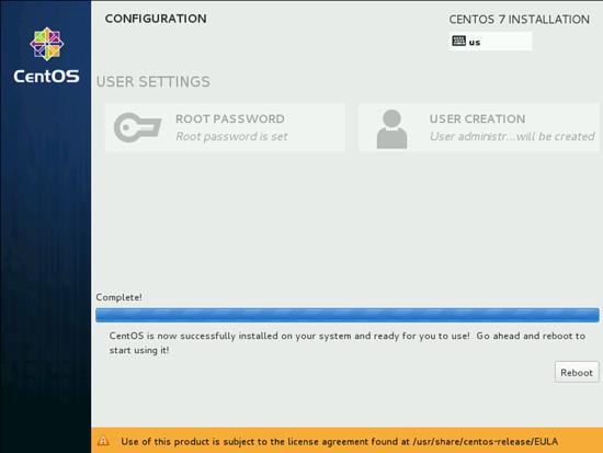 Перезагрузка после установки CentOS 7