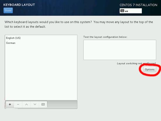 Настойка раскладки клавиатуры в установке CentOS 7