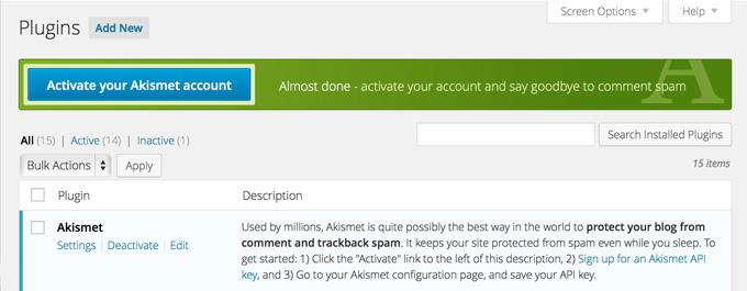 Активация аккаунта Akismet в WordPress