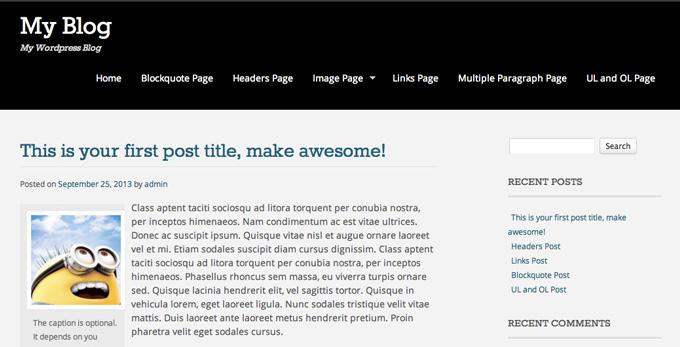 Блог после смены темы WordPress