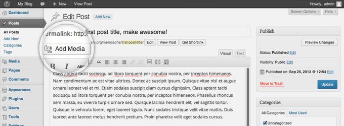 Добавить медиафайл в WordPress