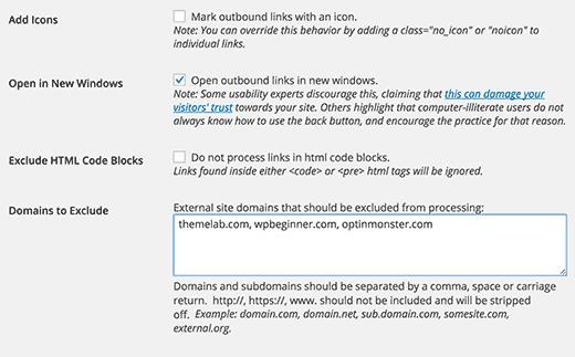 Дополнительные параметры для внешних ссылок в WordPress