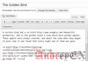 Экран в режиме редактирования текстового редактора Wordpress