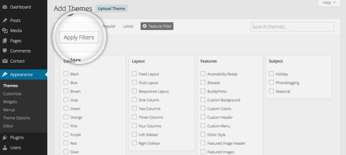 Фильтры при поиске тем в WordPress