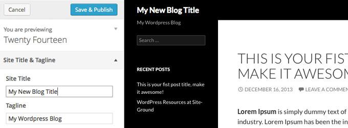 Группа настроек Site Title & Tagline в теме Twenty Fourteen на WordPress