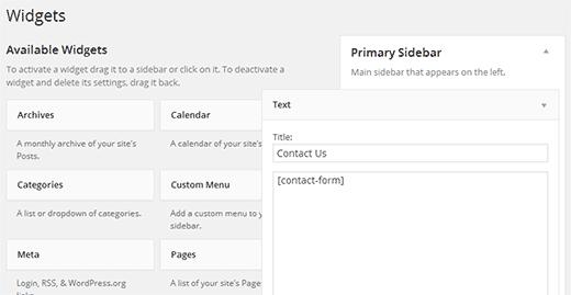 Использование шорткодов в виджетах WordPress