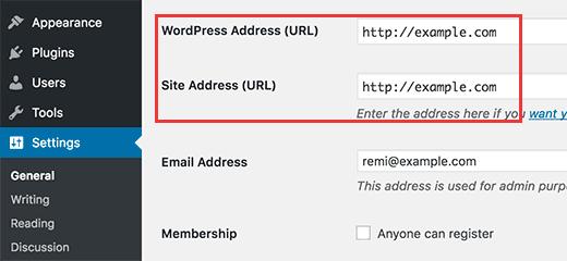Изменение адреса WordPress и адреса сайта варианты из админки