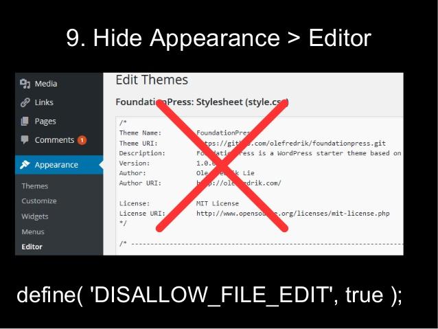Как отключить редактор темы и плагинов из панели администратора WordPress