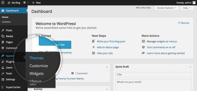 Как получить доступ к странице настроек темы в WordPress