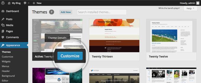 Настройка активной темы в WordPress