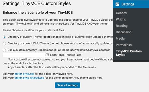 Настройки TinyMCE Custom Styles