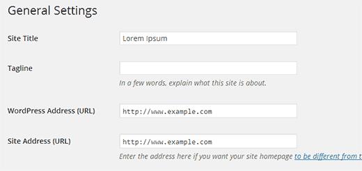 Настройки адреса WordPress