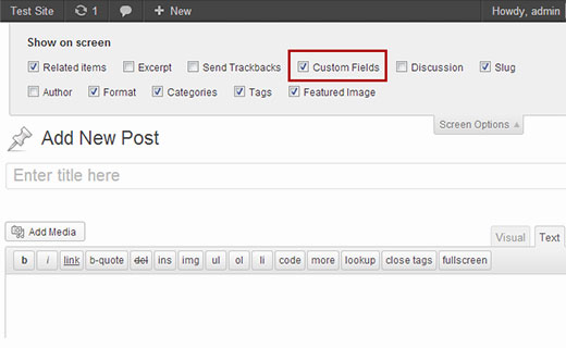 Окно включения пользовательских полей метаданных в окне редактирования WordPress