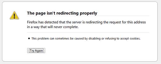 Ошибка переадресации WordPress отображается в Firefox