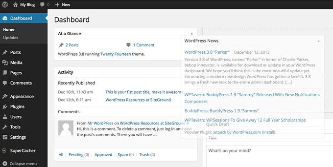 Отображение виджетов на главном окне панели управления WordPress
