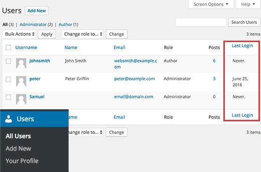 Последний столбец даты входа пользователя в админку WordPress