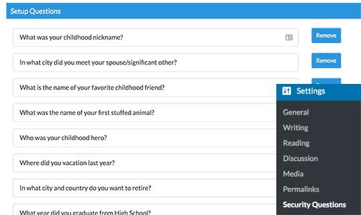 Редактировать, удалить или добавить вопросы безопасности