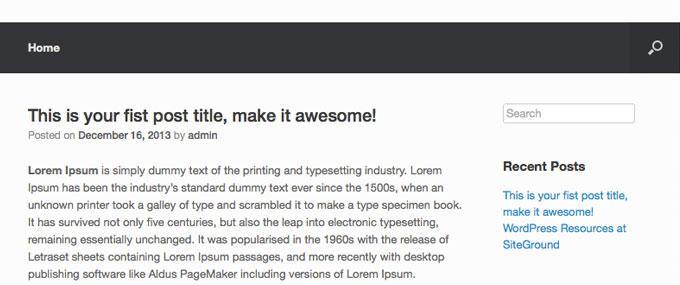 Созданный пост в блоге WordPress