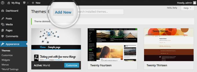 Установка новой темы на сайт WordPress