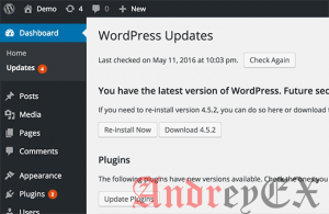 Уведомления об обновлениях в WordPress