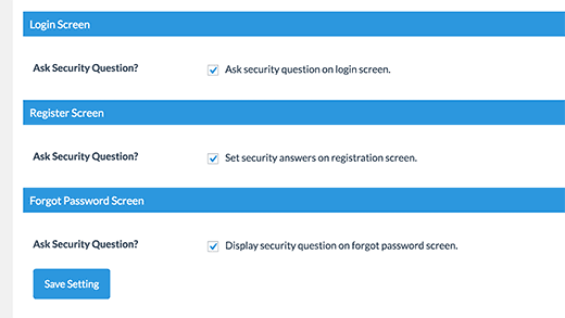 Включить вопросы безопасности при входе в систему при регистрации и страницы потерянного пароля