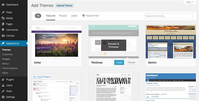 Выбрать и установить тему из официального каталога тем WordPress