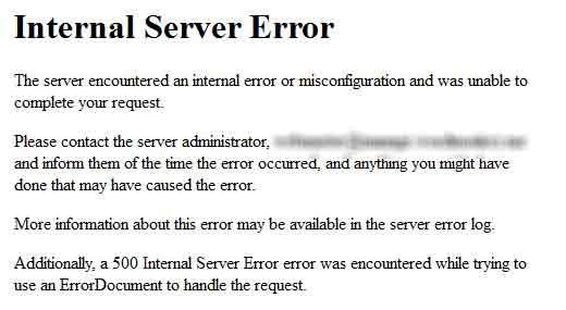 Как исправить внутреннюю ошибку сервера