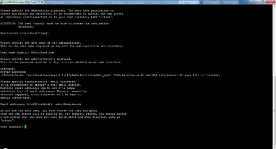 LiteSpeed будет работать под этим именем пользователя Linux.