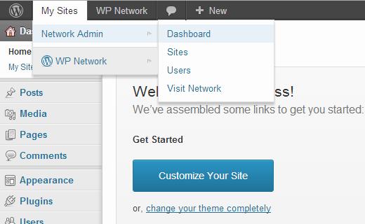 Меню WordPress Многоузловая Сеть в строке администратора
