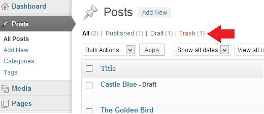 Обнаружение удаленных постов в корзине WordPress