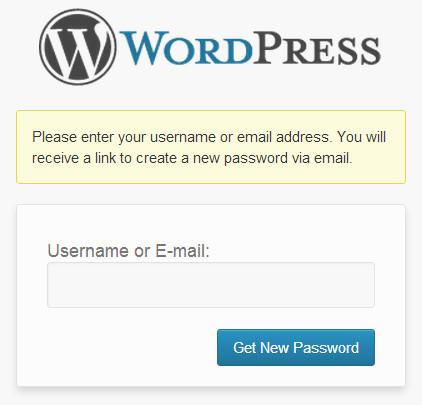 Окно ввода пароля для восстановления в WordPress