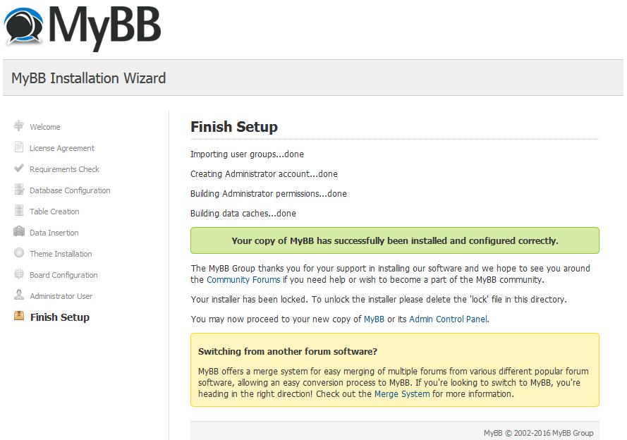 Окончании установки MyBB