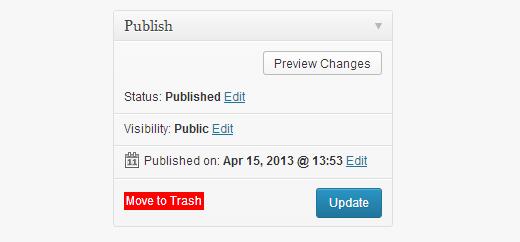 Переместить запись в мусор в WordPress