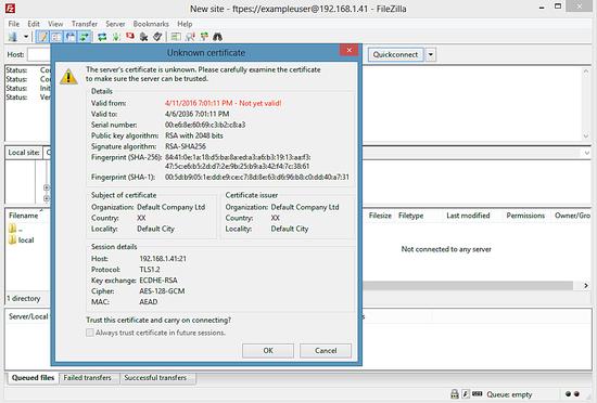 Предупреждение сертификата SSL в FileZilla